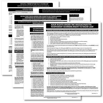 ComplyRight™ Massachusetts Temporary Workers Right to Know Law Poster Bundle, Multi-Lingual (EMATWR2K)