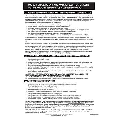 ComplyRight™ Massachusetts Temporary Workers Right to Know Law Spanish Poster