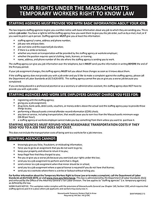 ComplyRight™ Massachusetts Temporary Workers Right to Know Law English Poster (EMATWR2KE)