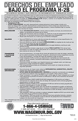 ComplyRight™ Employee Rights Under H-2B Program Spanish Poster