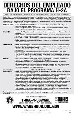 ComplyRight™ Employee Rights Under H-2A Program Spanish Poster (E3204)