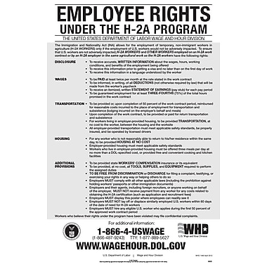 ComplyRight™ Employee Rights Under H-2A Program English Poster
