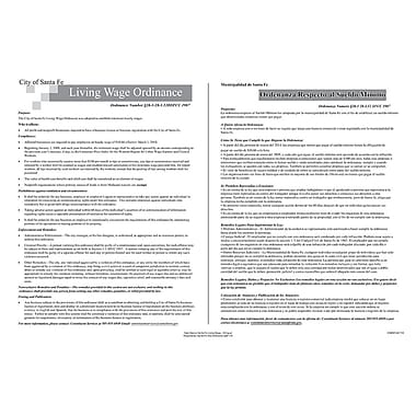 ComplyRight™ Santa Fe Living Wage Ordinance Bilingual Poster