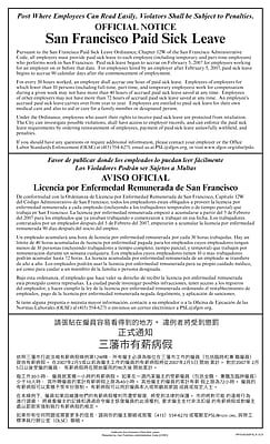 ComplyRight™ San Francisco Paid Sick Leave Multi-lingual Poster (ECASFSL)