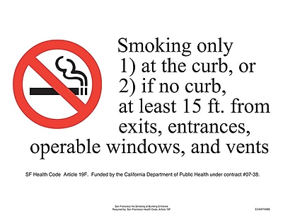 ComplyRight™ San Francisco No Smoking at Building Entry Poster (ECASFNSBE)