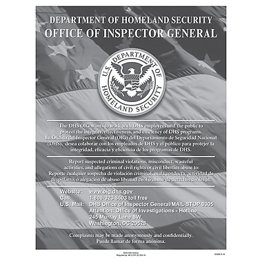 ComplyRight™ Department of Homeland Security Fraud Hotline Poster