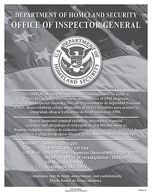 ComplyRight™ Department of Homeland Security Fraud Hotline Poster (E3260)