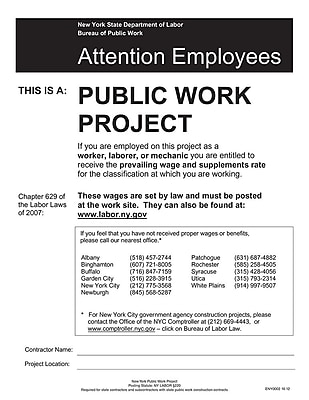ComplyRight™ New York Public Work Project Poster (ENY0002)