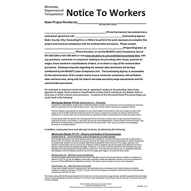 ComplyRight™ Minnesota Notice Worker Construction Projects Poster