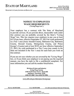 ComplyRight™ Maryland Living Wage Law Poster (EMD0001)