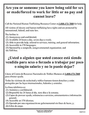 ComplyRight™ Georgia Human Trafficking Bilingual Poster (EGAHT)