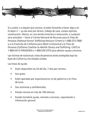 ComplyRight™ California Human Trafficking Spanish Poster