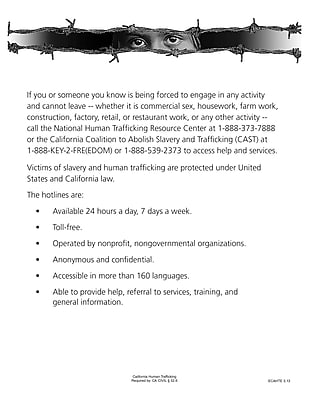 ComplyRight™ California Human Trafficking English Poster (ECAHTE)