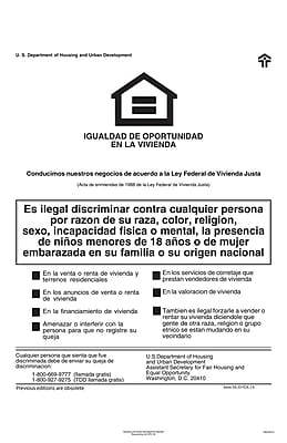 ComplyRight™ Federal Fair HUD Equal Housing Opportunity Spanish Poster (E8113)