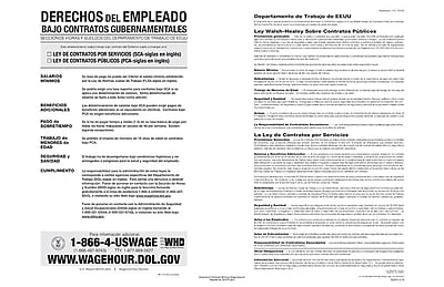 ComplyRight™ The Walsh-Healey Public Contracts Act Spanish Poster (E2201S)