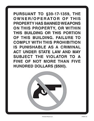 ComplyRight™ Tennessee Weapons Law Poster (ETN4G)