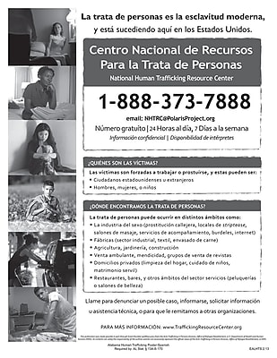 ComplyRight™ Alabama Human Trafficking Spanish Poster (EALHTS)