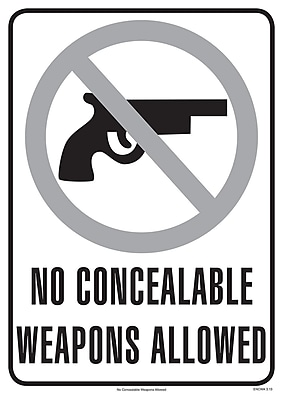 ComplyRight™ No Concealable Weapons Allowed Poster (ENCWA)