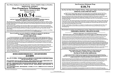 ComplyRight™ San Francisco Minimum Wage Multi-lingual Poster (ECASFMW)