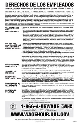 ComplyRight™ Federal Notice to Workers With Disabilities Spanish Poster (E1178S)