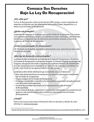 ComplyRight™ ARRA Whistleblower Rights Spanish Poster