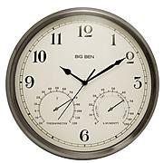 """Westclox® 12"""" Big Ben Indoor/Outdoor Wall Clock, Brushed Nickel"""