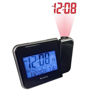 Westclox 72027 Plastic Digital Projection LCD Digital Alarm Table Clock, Black