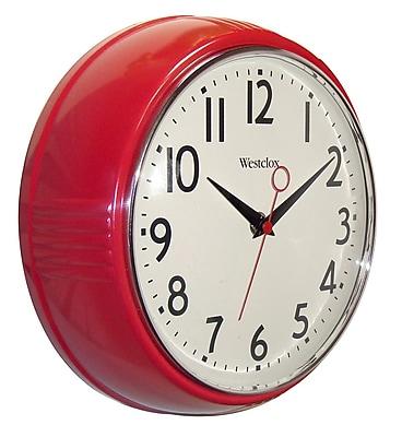 Westclox 32042R Plastic Analog Wall Clock, Red