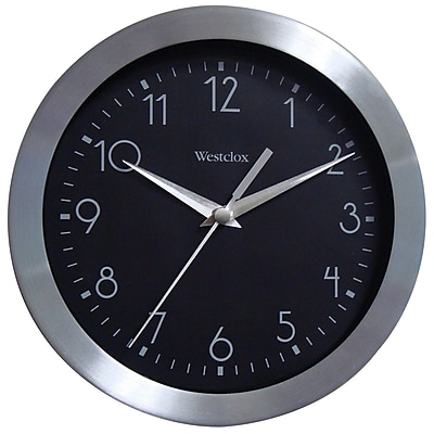 Westclox 36001A Metal Analog Quartz Movement Glass Wall Clock, Silver