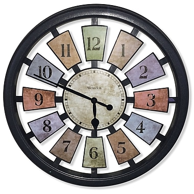 Westclox 36014W Plastic Analog Kaleidoscope Wall Clock, Black