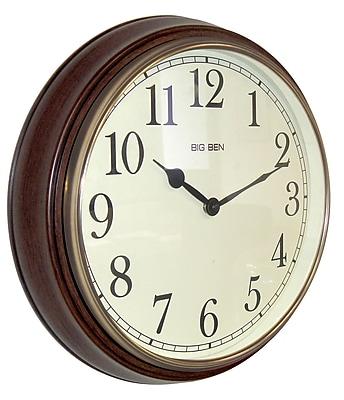 Westclox 73004P Wood Analog Wall Clock, Brown
