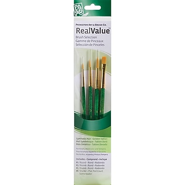 Princeton Artist Brush Real Value Golden Taklon brush, 4/Pack (P9115)