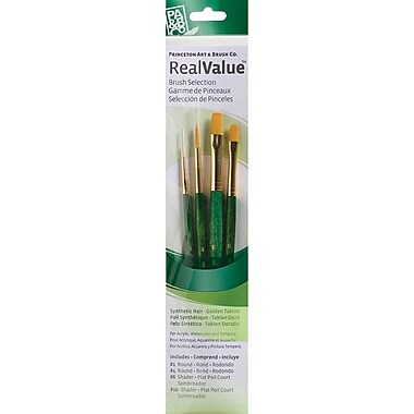Princeton Art & Brush™ Real Value Gold Taklon Brush Set, Round 1,4, Shader 6,10