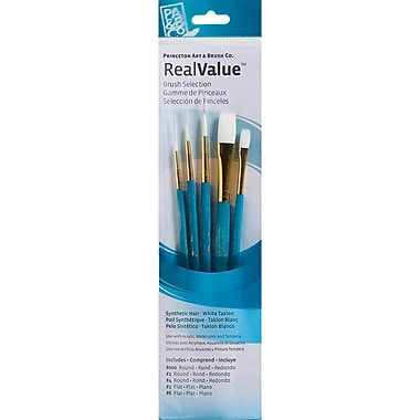 Princeton Art & Brush™ Real Value Synthetic White Taklon Brush Set, Round 3/0, 2, 4, Flat 2, 6