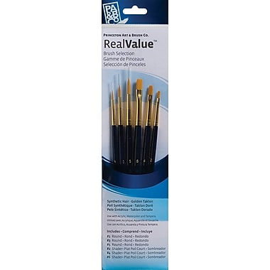 Princeton Art & Brush™ Real Value Synthetic Gold Taklon Brush Set, Round 1,3,5, Shader 2,4,6
