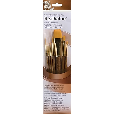 Princeton Art & Brush™ Real Value Synthetic Gold Taklon Brush Set, Round 5/0,0,5