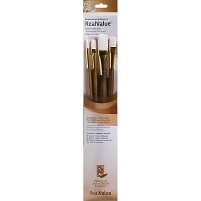 Princeton Art & Brush™ Real Value Synthetic White Taklon Brush Set, Round 6, Filbert 6