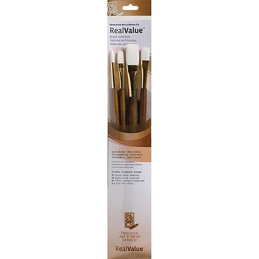 Princeton Art & Brush™ RealValue™ Synthetic White Taklon Brush Set, Round 6, Filbert 6 (P9147)