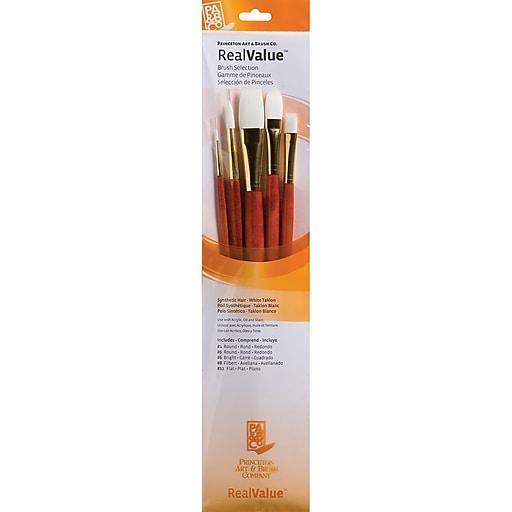 Princeton Art & Brush™ RealValue™ Synthetic White Taklon Brush Set, Bright 6 (P9155)