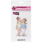 """Art Impressions 4"""" x 3"""" Girlfriends Cling Rubber Stamp, Laughing"""