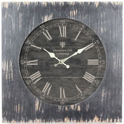 "Yosemite CLKA1B1032 18.5"" Wall Clock With Distressed Black Wooden Frame"