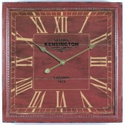 """Yosemite CLKA1B951 16"""" Wall Clock With Distressed Wooden Frame, Brick Red"""