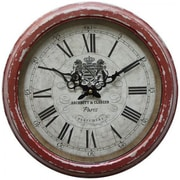 """Yosemite CLKA7184ME 16"""" Iron Wall Clock With Distressed Red Iron Frame"""