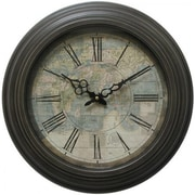 """Yosemite CLKA9A114MD 17"""" Wall Clock With Map Print and Black Iron Frame"""