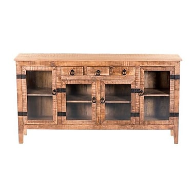 Yosemite Home Decor Solid Mango Metal Console Table, Medium Wood, Each (YFUR-SBA221049)