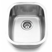 """Yosemite Stainless Sinks 7"""" x 18 1/2"""" x 15"""" Rectangular Single Bowl Steel Sink, Satin"""