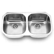 "Yosemite Stainless Sinks 9"" x 32 1/2"" x 18"" Rectangular Double Bowl Steel Sink, Satin"