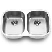 "Yosemite Stainless Sinks 7"" x 29"" x 18 1/2"" Rectangular Double Bowl Steel Sink, Satin"