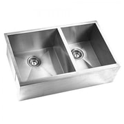 "Yosemite Stainless Sinks 10"" x 33"" x 22"" Rectangular Apron Double Bowl Steel Sink, Satin"