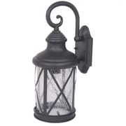 "Yosemite 16"" x 6 1/2"" x 7 3/4"" 1-Light Exterior Lantern With Clear Seeded Glass Shade, Black"